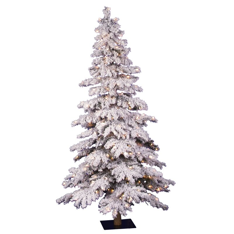 The Holiday Aisle 5' Flocked Spruce Alpine White Artificial ...