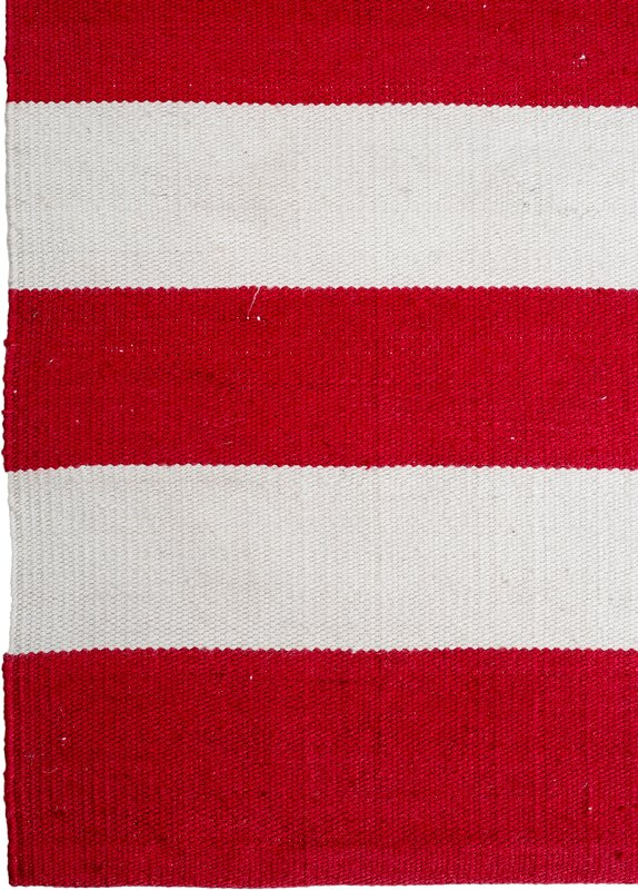 Fab habitat nantucket striped hand woven red white indoor for Red and white striped area rug