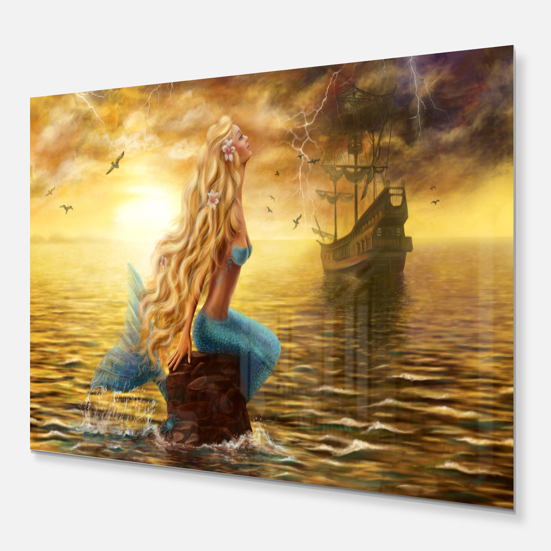 DesignArt \'Sea Mermaid with Ghost Ship\' Graphic Art on Wrapped ...
