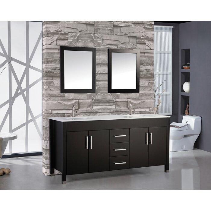 Awe Inspiring Prahl 71 25 Double Sink Bathroom Vanity Set With Mirror Beutiful Home Inspiration Truamahrainfo