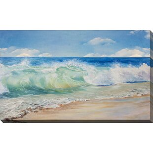 925a4a945f  Painted Waves On Beach  Graphic Art Print on Wrapped Canvas