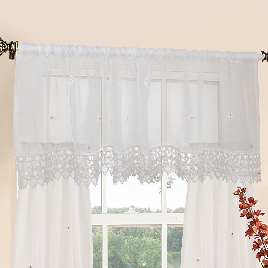 "Violet Linen Daisy Design 60"" Curtain Valance And Tier Set"