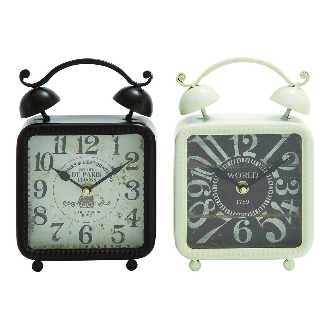 2 Piece Metal Table Clock Set
