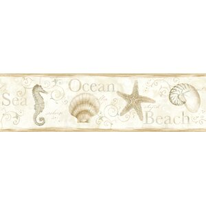 Sand Dollar Island Bay Seashells 15′ x 6.83″ Scenic 3D Embossed Border Wallpaper