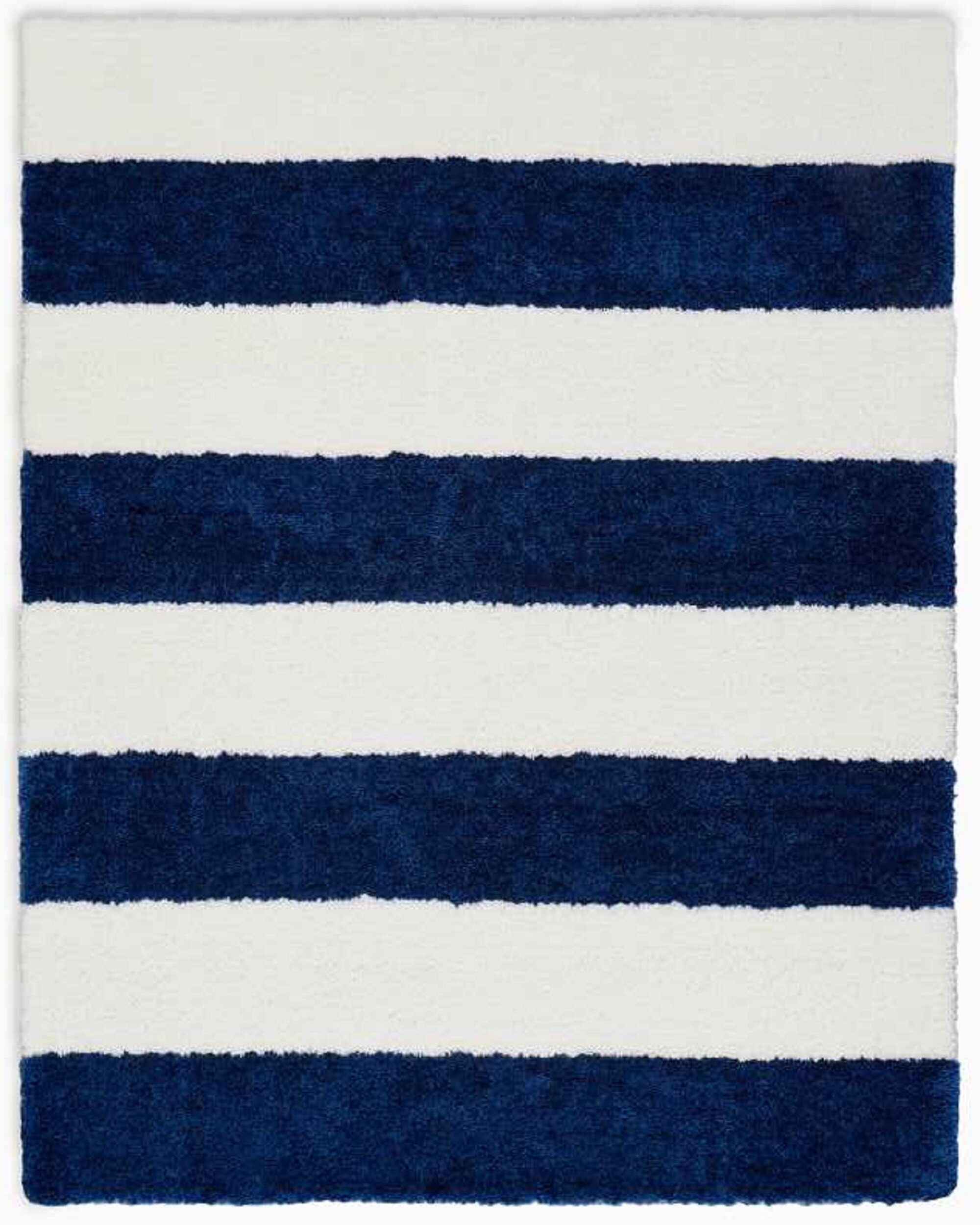 Calvin Klein Chicago Striped Handmade Shag Whitenavy Blue Area Rug