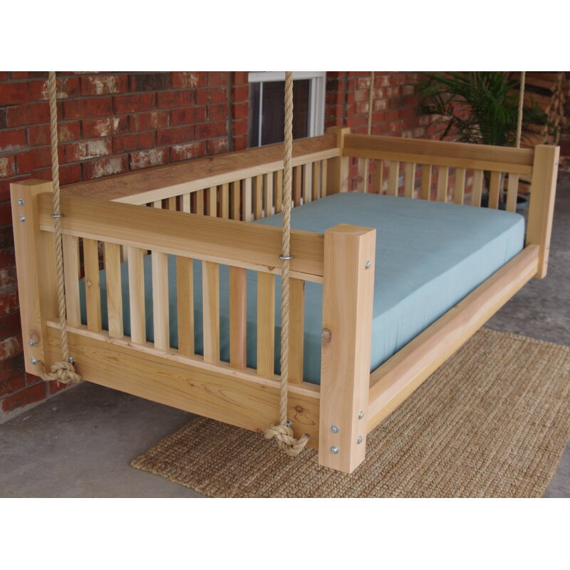 Millwood Pines Longbridge Cedar Hanging Daybed Rope Porch
