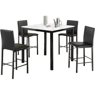 Ariandne Faux Marble 5 Piece Counter Height Dining Set