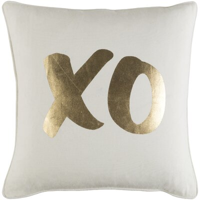 Ivy Bronx Yahya XO Cotton Throw Pillow Cover Color: White/ Metallic Gold