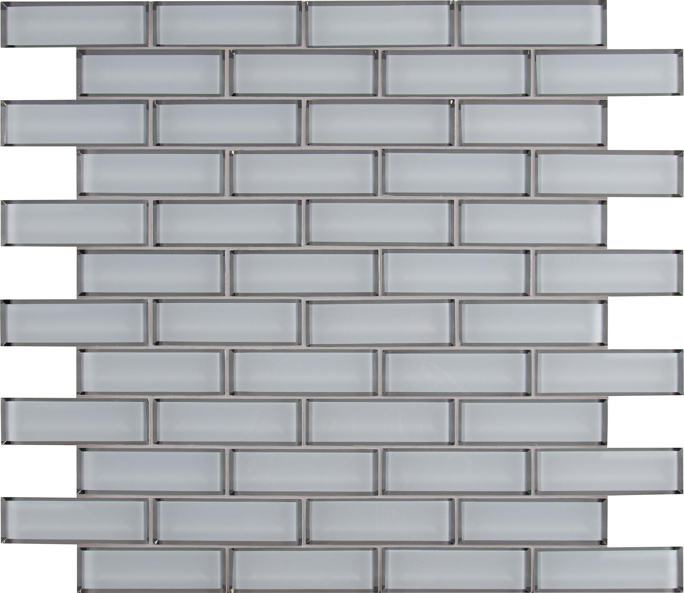 Msi Ice Bevel Mesh Mounted Brick 2 X 6 Gl Subway Mosaic Tile In