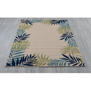 Springcreek Beautiful Tropical Palm Leaves Green Blue Indoor Outdoor Area Rug