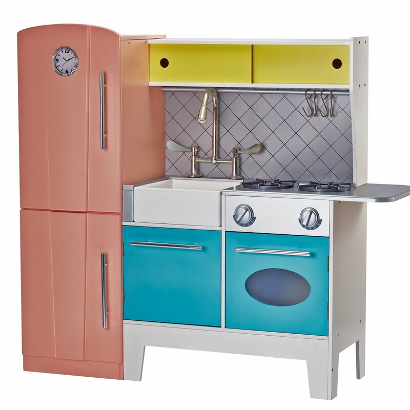 Blue Wooden Play Kitchen teamson kids playful bubble gum wooden play kitchen & reviews