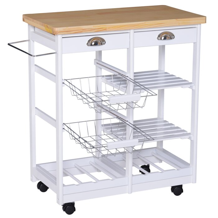 225 & Shurtleff Rolling Kitchen Cart Solid Wood