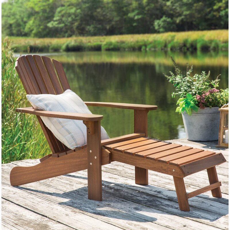 Charmant Solid Wood Adirondack Chair With Ottoman
