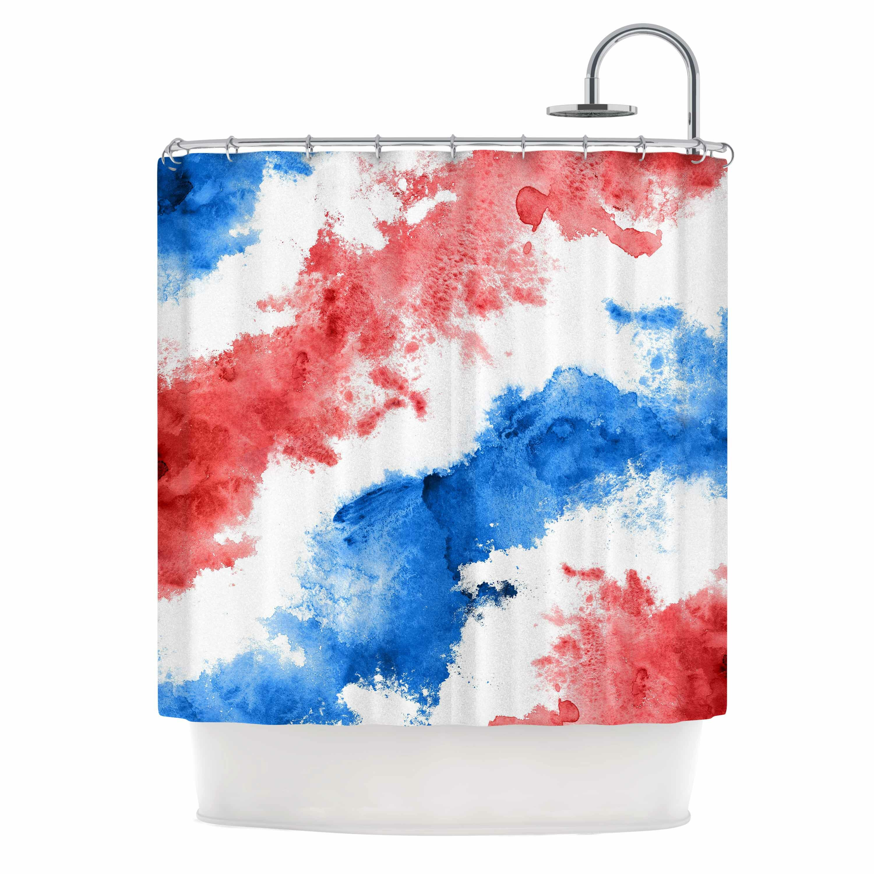 East Urban Home Patriotic Watercolor Shower Curtain