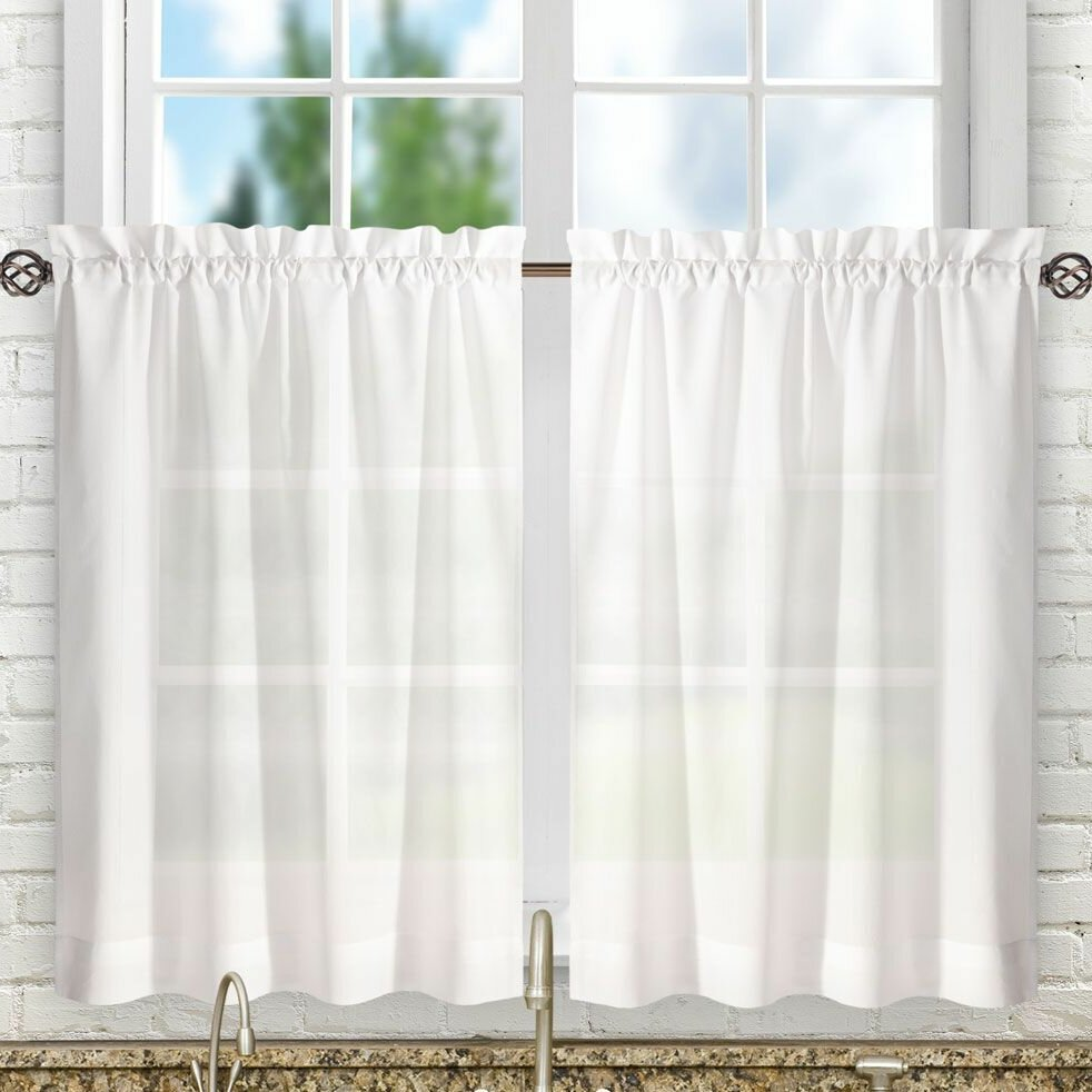 White Valances & Kitchen Curtains You\'ll Love | Wayfair