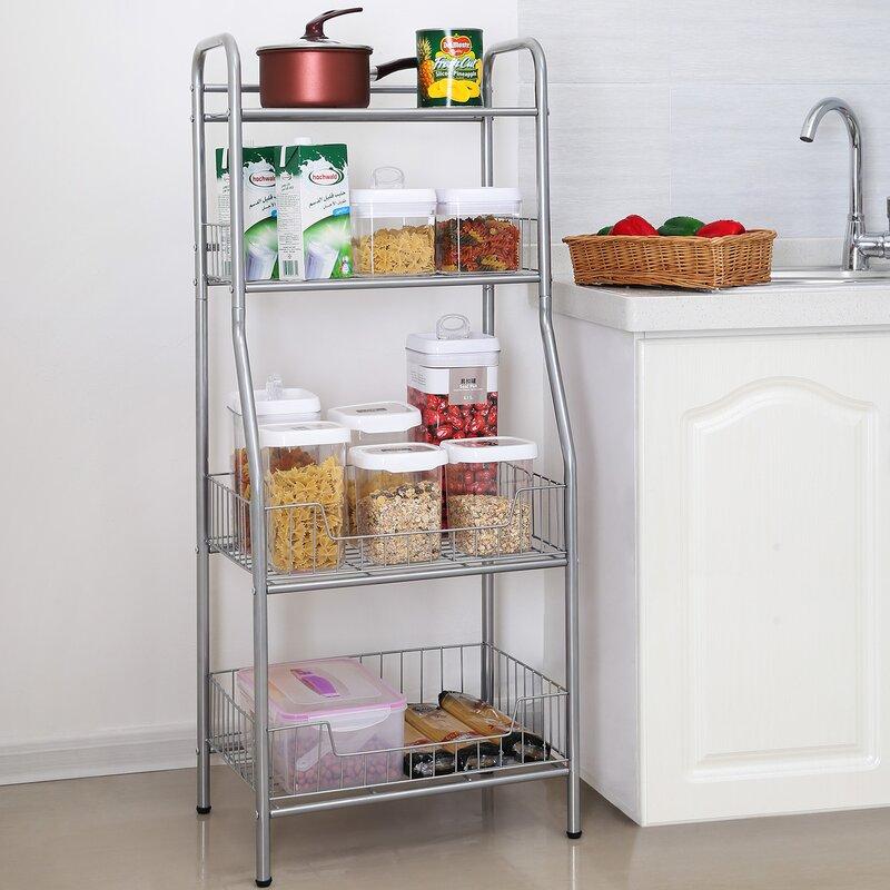 Songmics 4 Shelf Steel Wire Shelving Standing Storage Rack & Reviews ...