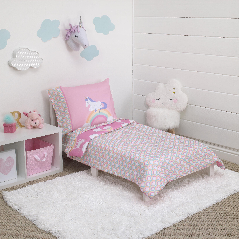 carter s rainbow unicorn 4 piece toddler bedding set reviews wayfair rh wayfair com toddler bedroom sets pottery barn toddler bedroom sets ikea