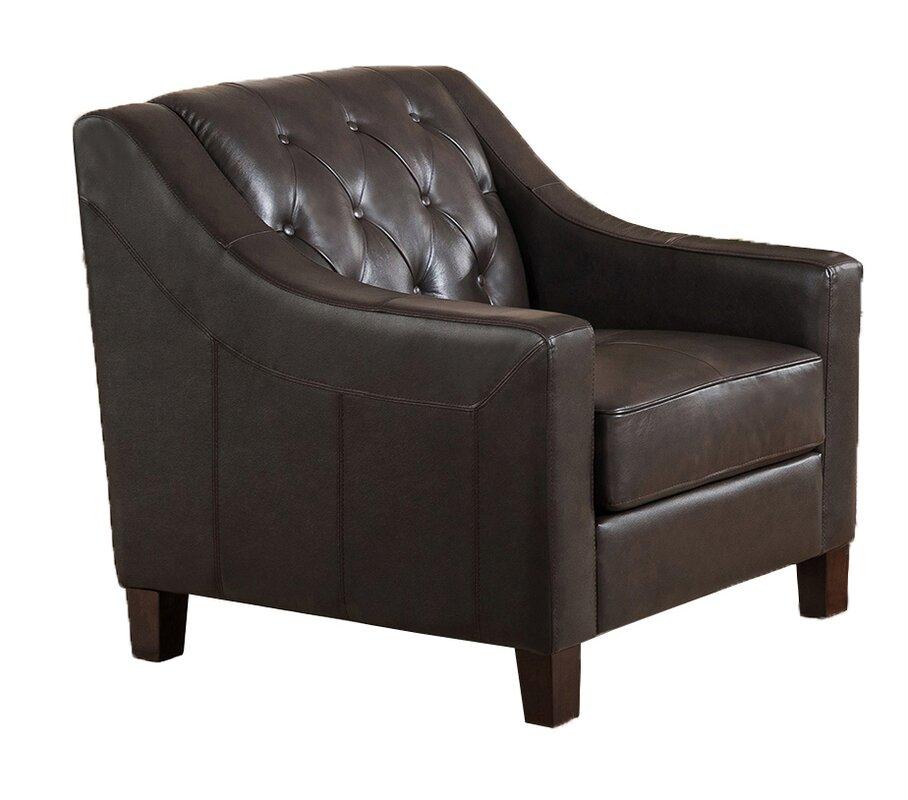 Sutton Top Grain Leather Tufted Club Chair