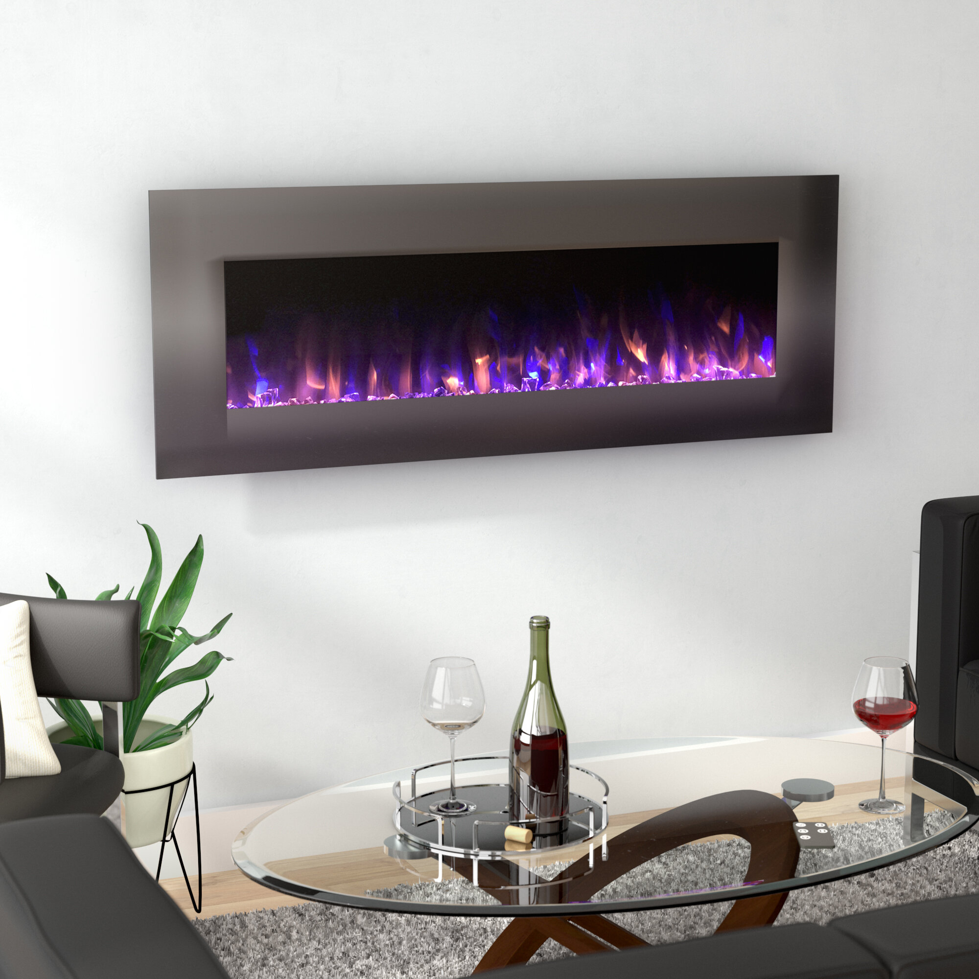 Orren Ellis Quevedo No Heat Wall Mounted Electric Fireplace ...