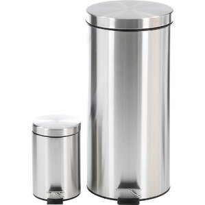2 piece stainless steel 792 gallon trash can set - Slim Trash Can