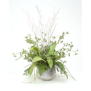 Glittered Branches with Foliage in Planter