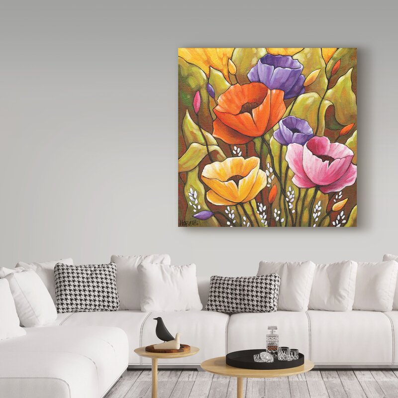 'Flowers and Leaves' Acrylic Painting Print on Wrapped Canvas