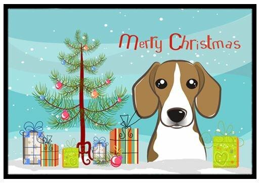 christmas tree and beagle doormat - Christmas Beagle