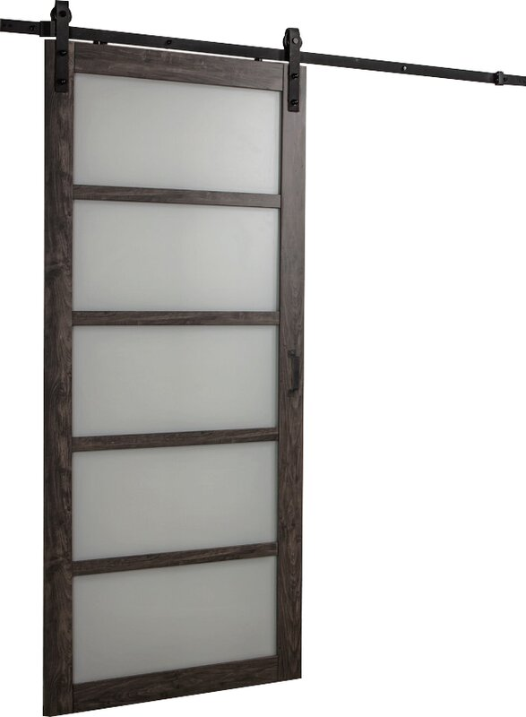 Erias home designs continental frosted glass 1 panel ironage laminate interior barn door for 5 panel frosted glass interior door