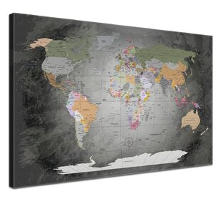 Maps canvas wall art wayfair world map framed graphic art print poster in grey gumiabroncs Gallery