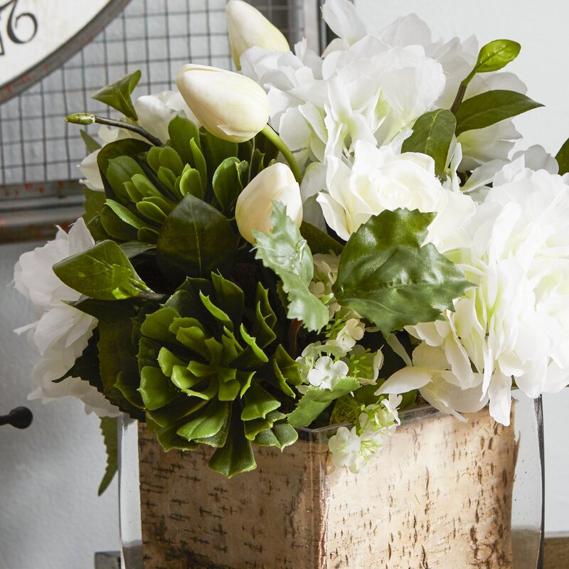 Creative Branch Faux White Flowers And Succulents In Decorative Vase
