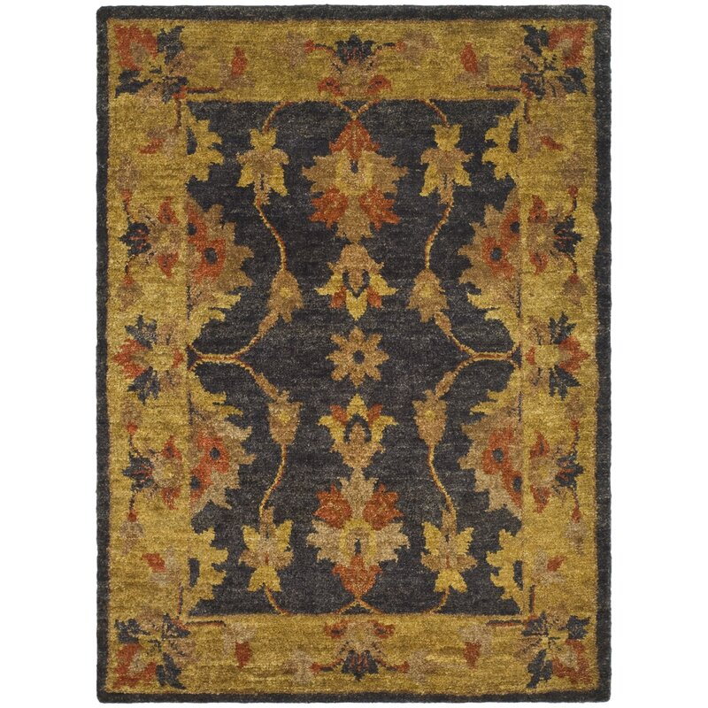 Alcott Hill Lafountain Hand-Knotted Charcoal/Gold Area Rug, Size: Rectangle 6 x 9