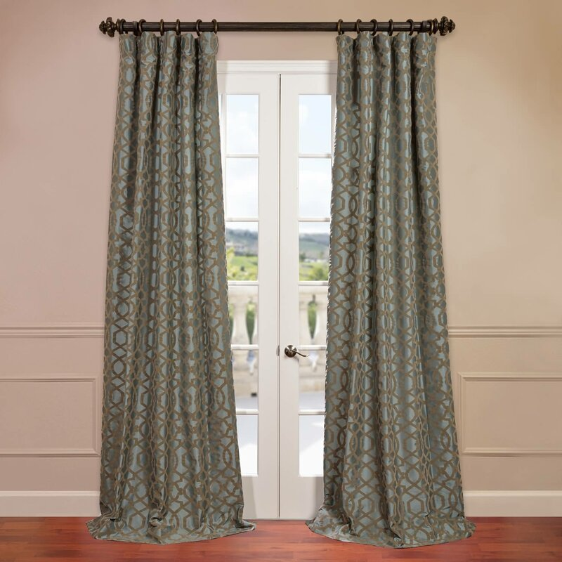 Half Price Drapes Filigree Flocked Faux Silk Geometric Rod Pocket