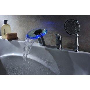Single Handle Deck Mount Tub Faucet Set With Handheld Sprayer