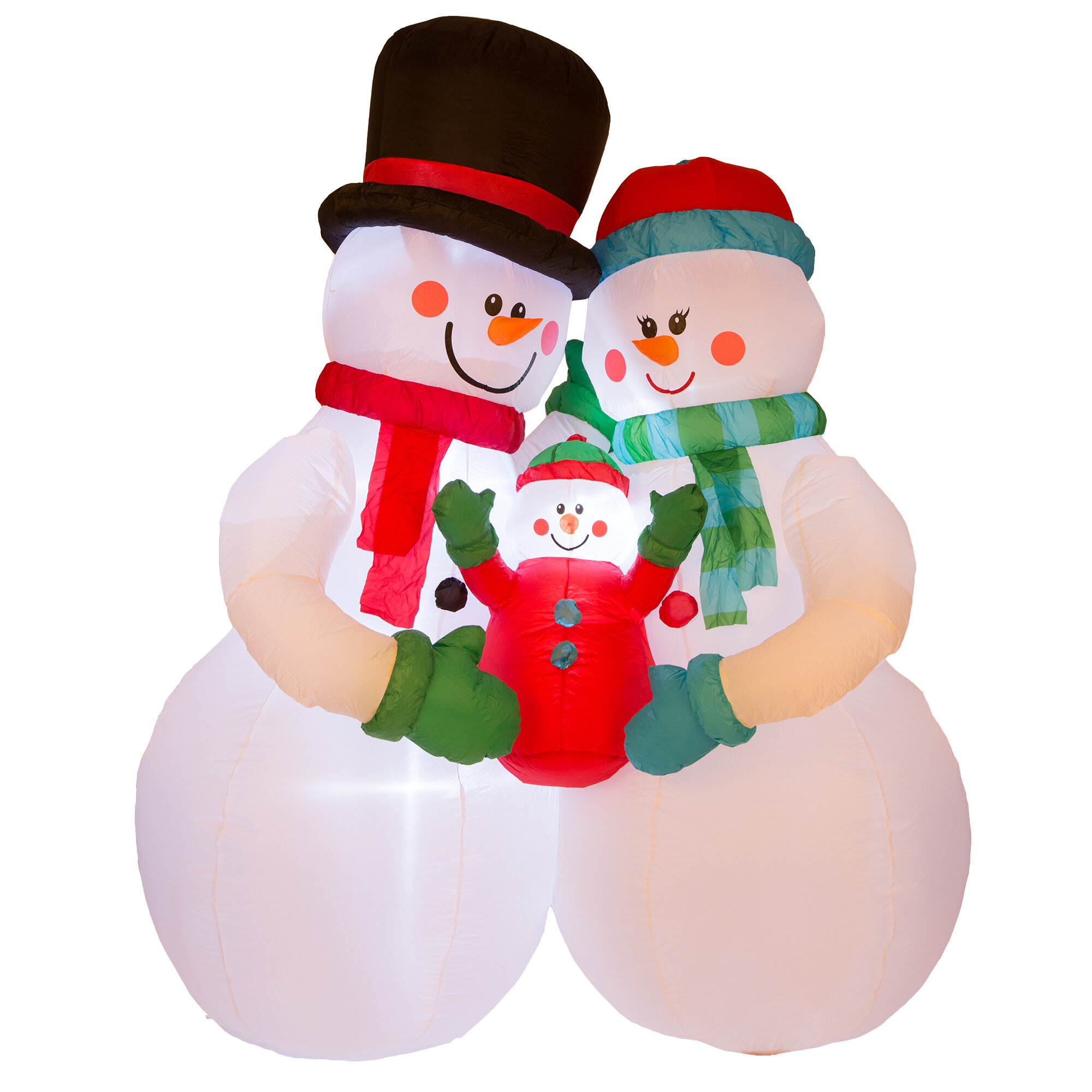 Glitzhome Lighted Snowman Family Decor Inflatable & Reviews | Wayfair