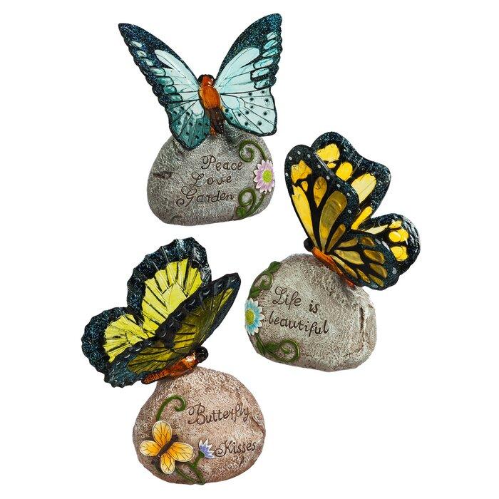 Solar Butterfly Garden Stone Set