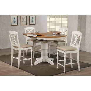 Butterfly Back Upholstered Counter Height 5 Piece Pub Table Set