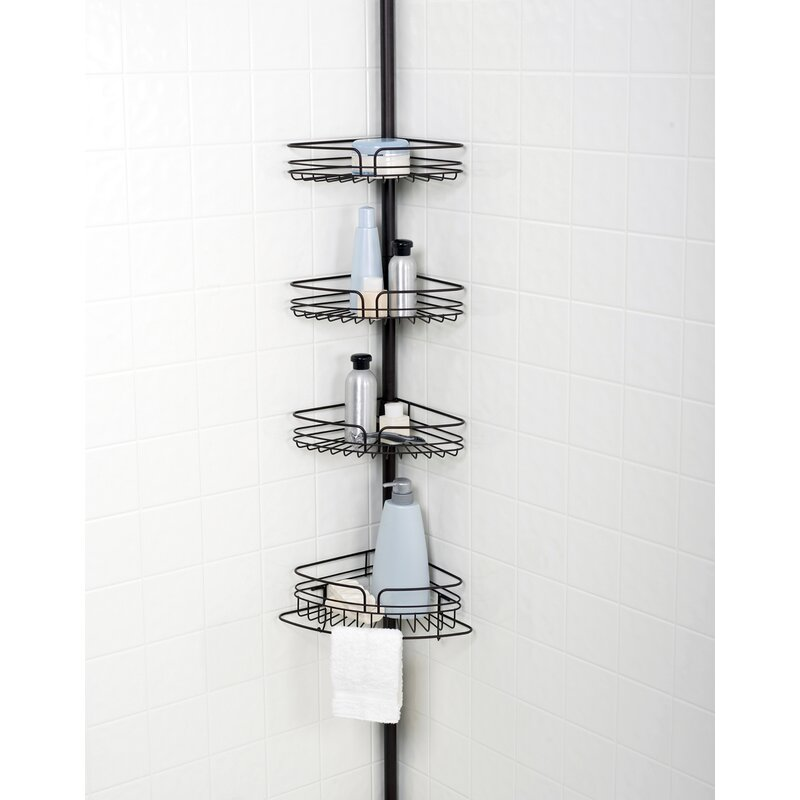 Versalot Tub And Shower Tension Pole Corner Shower Caddy