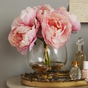 Peonies in a Glass Vase with River Rocks and Faux Water
