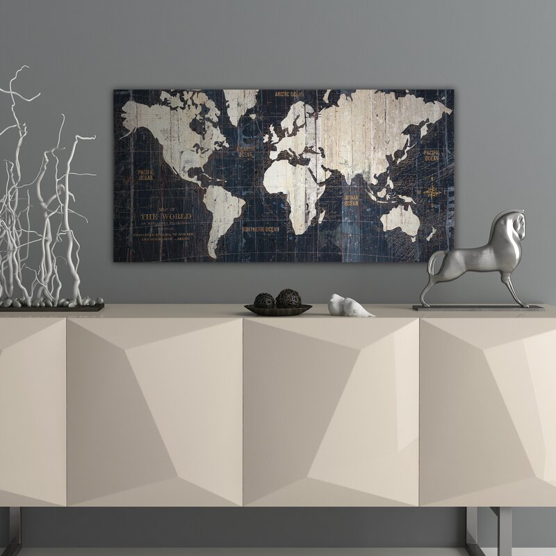 Mercury row old world map blue graphic art on wrapped canvas old world map blue graphic art on wrapped canvas gumiabroncs Gallery