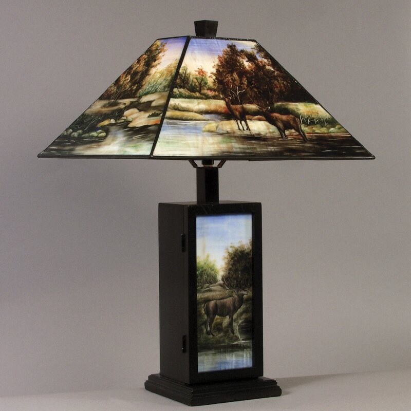 """AA Importing Hand Painted Deer 23"""" Table Lamp"""