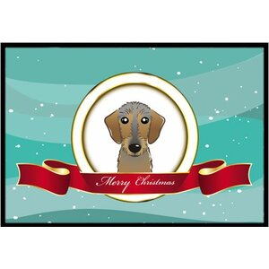 Wirehaired Dachshund Merry Christmas Doormat