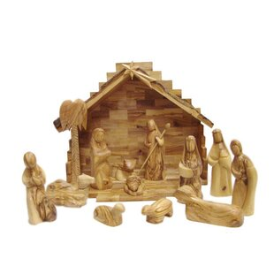 Modern Olive Wood Nativity Set With Le