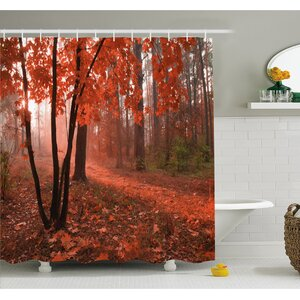 Fall Misty Forest with Leaves from Deciduous Trees Warm to Cold Featured Image Shower Curtain Set