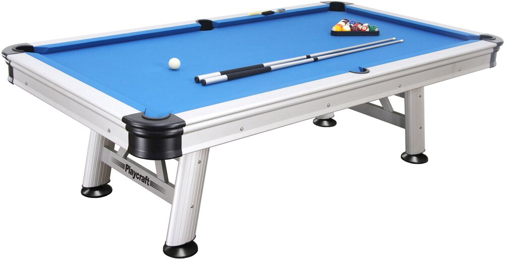 Extera Outdoor 8u0027 Pool Table With Playing Equipment