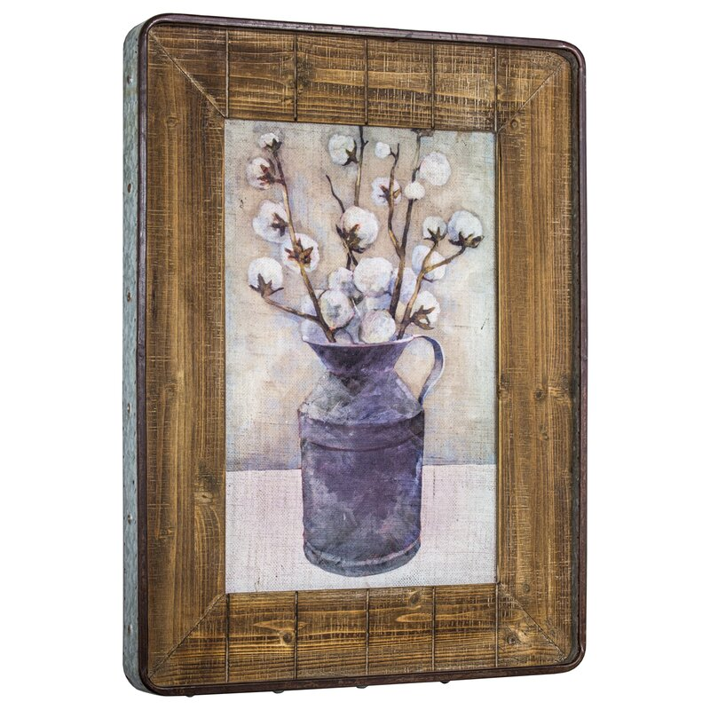 Rustic Flower Still Life Painting Print On Wood Farmhouse Wall Decor