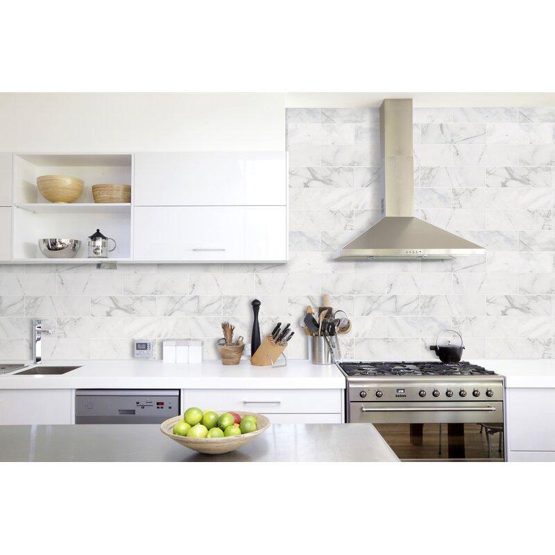 Msi Calacatta Cressa Honed 4 X 12 Marble Subway Tile In White