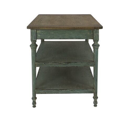 Lille 2 Drawer Prep Table With Wood Top