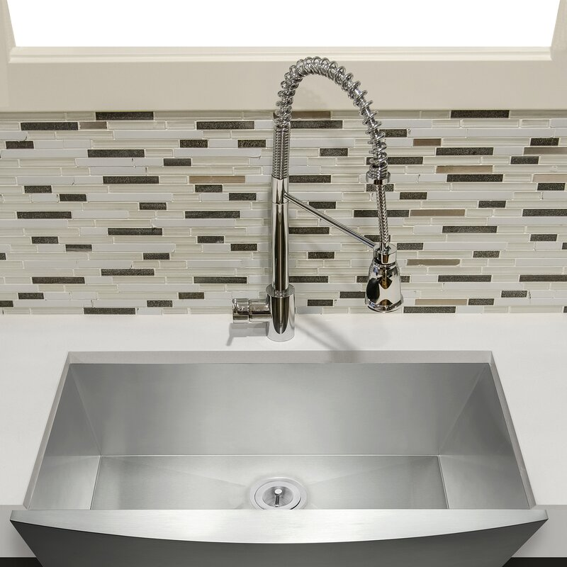 "Kitchen Sink Drain Kit: AKDY 33"" X 22"" Farmhouse Kitchen Sink With Dish Grid And"