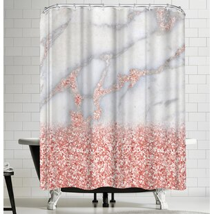 Grab My Art Shiny Rose Gold Blush Glitter On Marble Single Shower Curtain