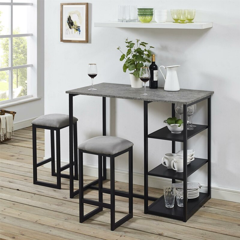 Mercury Row Denham 3 Piece Grey Pub Table Set & Reviews   Wayfair